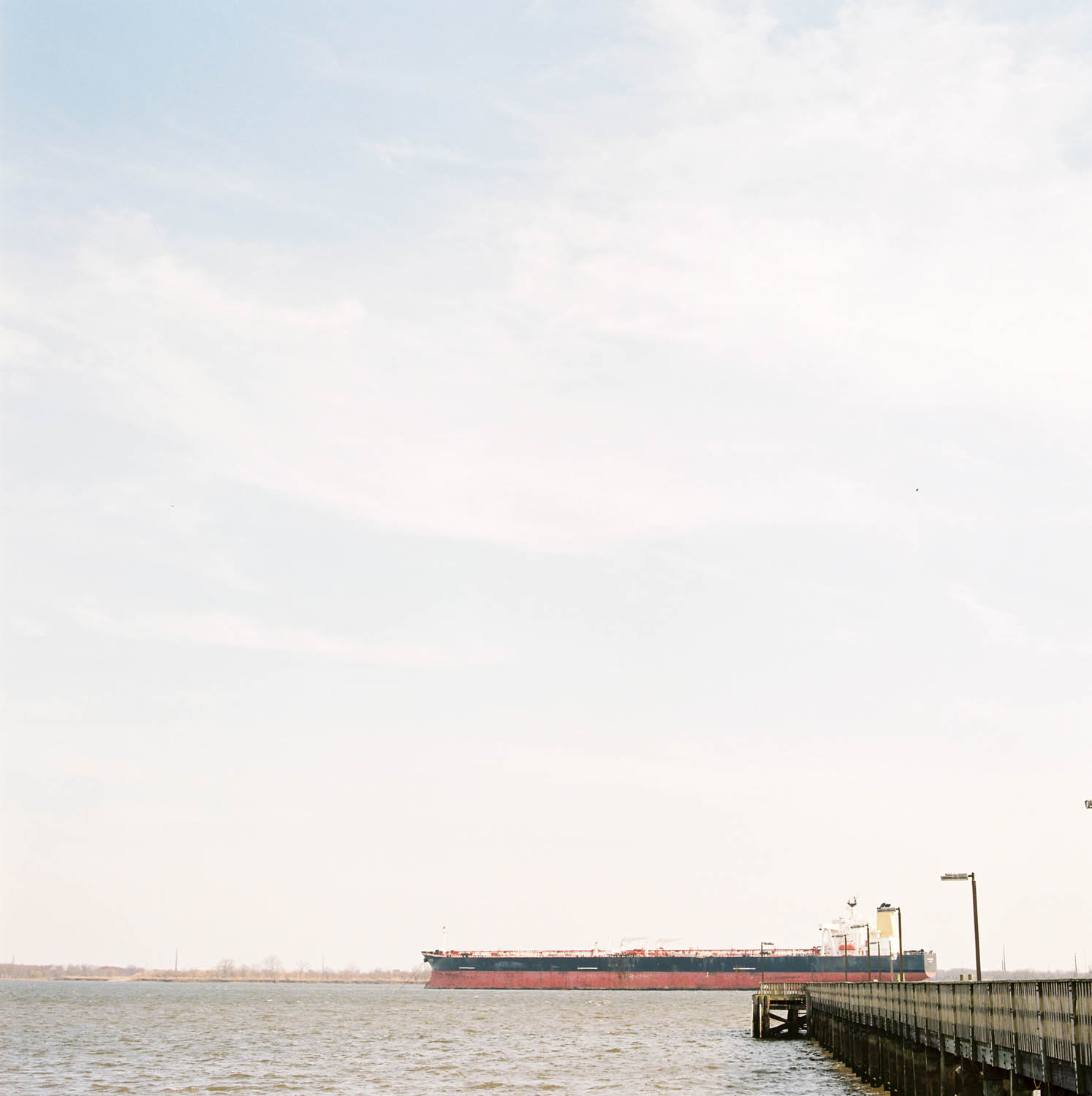 A shipping barge on medium format film
