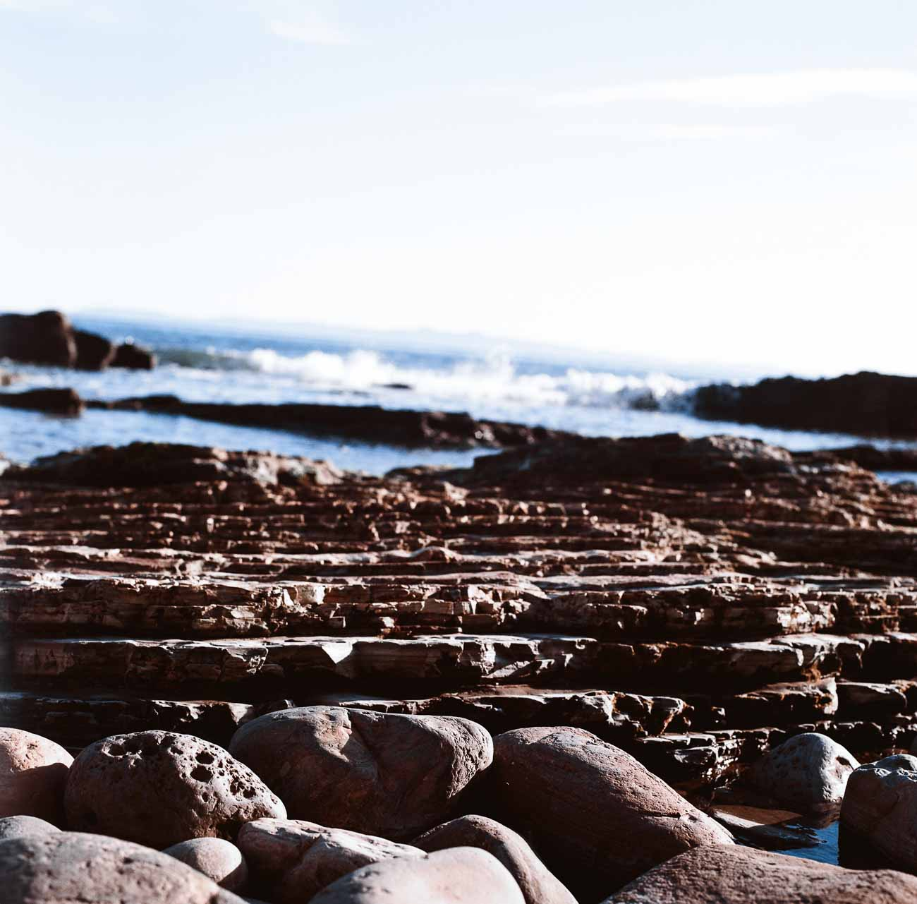 Rocks on a beach in San Pedro, CA, photographed with a Hasselblad 500c and Kodak Ektar