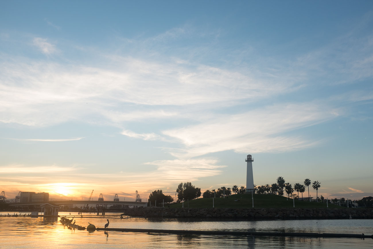 A lighthouse at sundown in Long Beach, CA